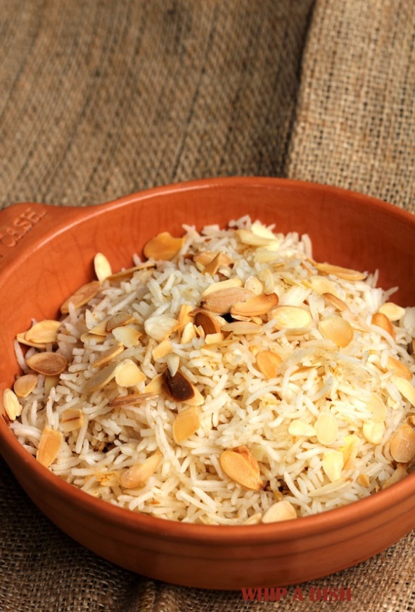 Pilau Rice with Roasted Sliced Almonds