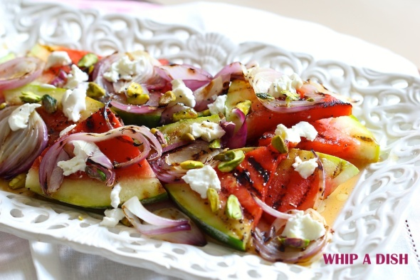 Grilled Water Melon with Goat Cheese